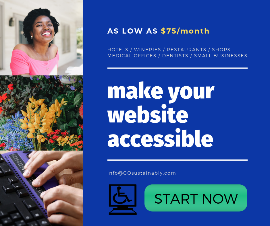 Make your small business website accessible with GOsustainably's affordable Accessibility Package.